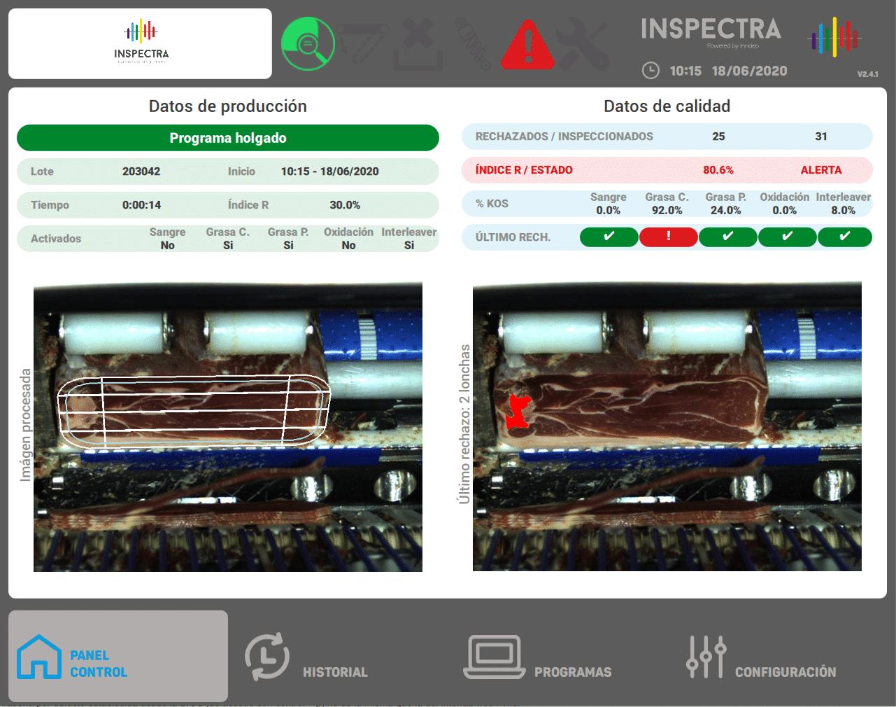 panel control inspección loncheado
